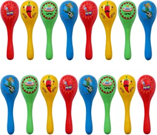 Ruisita 16 Pieces Wooden Maracas Mini Maracas Noisemaker Colorful Neon Maracas with 4 Different Styles for Mexican Fiesta Party Favors Classroom Musical Instruments