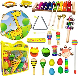 Toyerbee Musical Instruments Toys Set for Kids,22 PCS Wooden Percussion Instruments for Toddlers, Preschool& Educational Music Toy with Storage Bag for Children, Animal Tambourine, Maracas&More