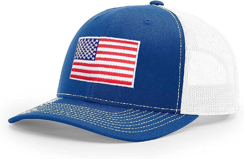 B Wear Sportswear American Flag Richardson 112 Trucker Cap (Royal/White)