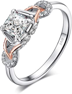 Infinity Celtic Knot Princess Cut Cubic Zirconia Solitaire Engagement Ring 925 Sterling Silver