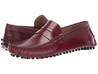 CARLOS by Carlos Santana Jorge Driver Loafer (Oxblood Croco Print Calfskin Leather) Men