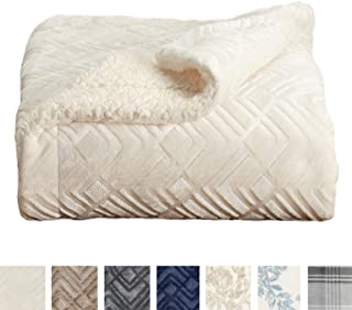 Home Fashion Designs Premium Reversible Sherpa and Sculpted Velvet Plush Luxury Blanket. Fuzzy, Soft, Warm Berber Fleece Bed Blanket Brand. (Twin, Winter White)
