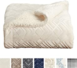 Premium Reversible Sherpa and Sculpted Velvet Plush Luxury Blanket. Fuzzy, Soft, Warm Berber Fleece Bed Blanket. by Home Fashion Designs Brand. (Full/Queen, Winter White)