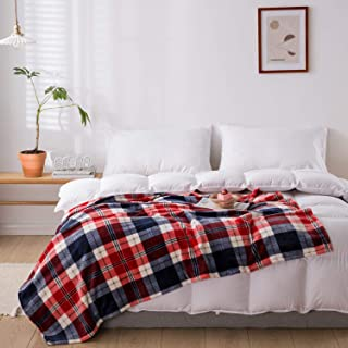 """NEWCOSPLAY Flannel Fleece Throw Blanket Lightweight Soft All Season Use (350GSM-Blue/Red, King(90""""x108""""))"""