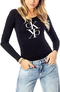 Calvin Klein Women's MIRRORED MONOGRAM BODY L/S T-Shirt