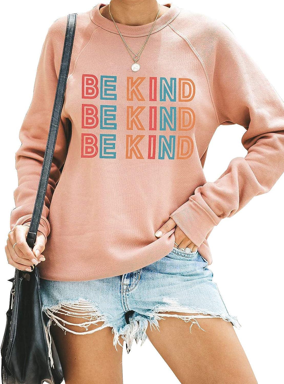 Blooming Jelly Women's Cute Graphic Sweatshirt Be Kind Crewneck Raglan Long Sleeve Pullover Top