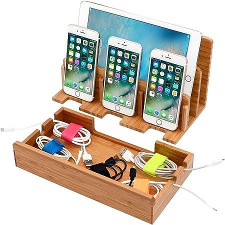 JOOCII 5台同時充電スタンド 竹製卓上充電ステーション スマホ充電 配線収納スタンド式 木目 Mac book/iPad/iPhone/Xperia/Kindle等適用 (Large)