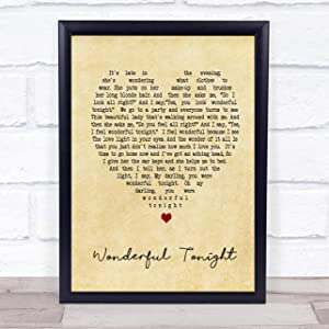 123 BiiUYOO Wonderful Tonight Eric Clapton Vintage Heart Song Lyric Quote Print with Frame 14