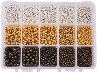 PH PandaHall 1 Box (About 2700pcs) 3 Color 5 Size Smooth Round Metal Beads Tiny Spacer Round Beads for Jewelry Making (Golden, Silver, Antique Bronze)