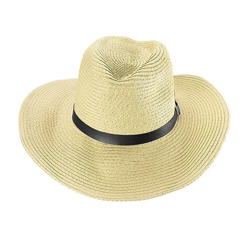 8f8e58ec Men's West Cowboy Hat Wide Large Brim Straw Bucket Hat Fedora Hat Sun Hat  Basin Cap