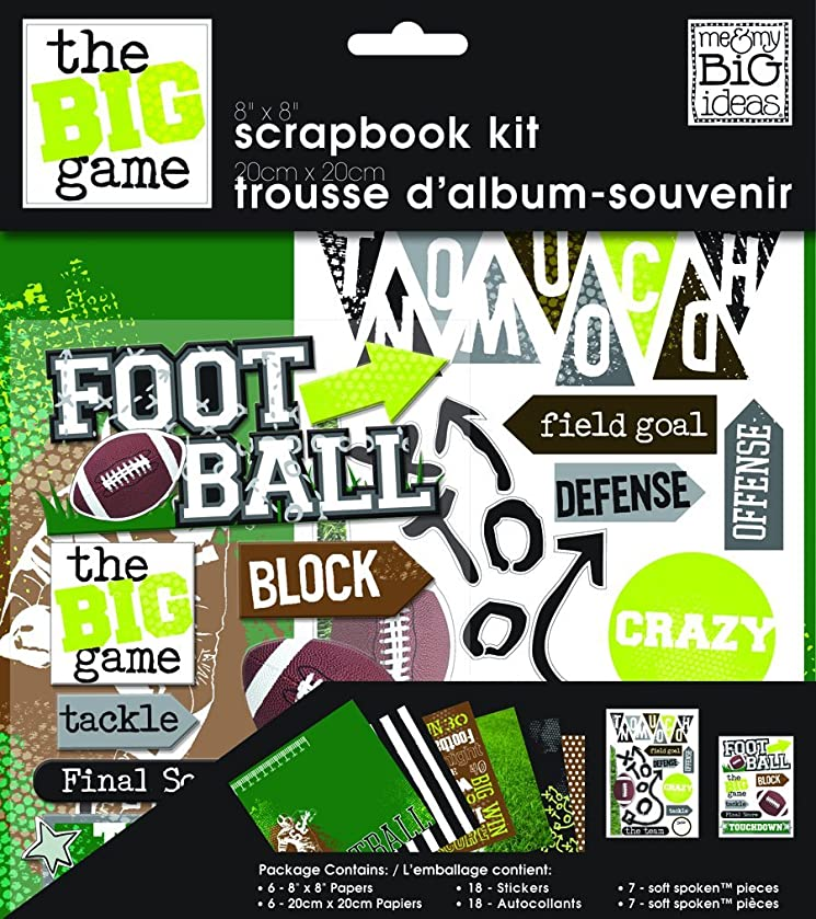 me & my BIG ideas Scrapbook Page Kit, Football, 8-Inch by 8-Inch