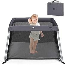 BABY JOY Baby Playpen, Ultra-Light Aluminum Portable Foldable Travel Crib with Comfy Mattress & Oxford Carry Bag, Dark Gray