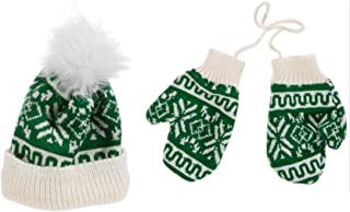 Christmas Knitted Stocking Hat and Mitten Pair Ornament Set Buyers' Choice of RED/White or Green/White (Green)