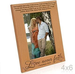 Kate Posh - Love Never Fails - 1 Corinthians 13:4-8 - Wood Picture Frame (4x6-Vertical)