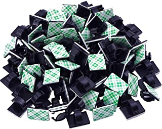 Diagtree 100 Pcs Adhesive Cable Clips, Upgraded Multifunctional Cord Holder Wire Organizer Cable Clamp for Car, Office and...