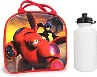 Disney Pixar Big Hero 6 Lunch Bag w/Water Bottle & Adjustable Strap Hiro & Baymax (Red)