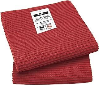 Now Designs Ripple Kitchen Towel, Set of 2, Carmine
