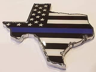 Muzzys THIN BLUE LINE AMERICAN FLAG IN SHAPE OF TEXAS State Edition Emblem Decal Longhorn Lone Star METAL Badge Universal Stick On FITS Silverado Suburban Tahoe GMC Sierra F150 Ranger F-150 Ram