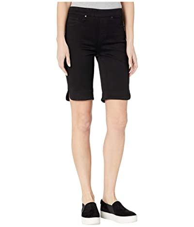 Tribal Pull-On Bermuda Shorts w/ Curved Side Slit (Black) Women