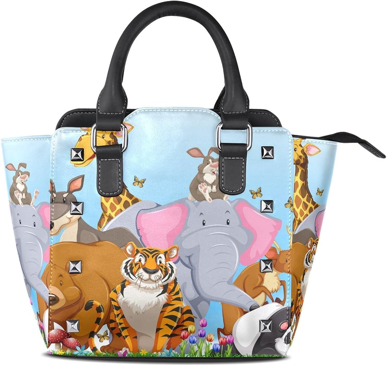 Sunlome Tiger Panda Elephant Giraffe Bear in The Field Print Handbags Women's PU Leather Top-Handle Shoulder Bags