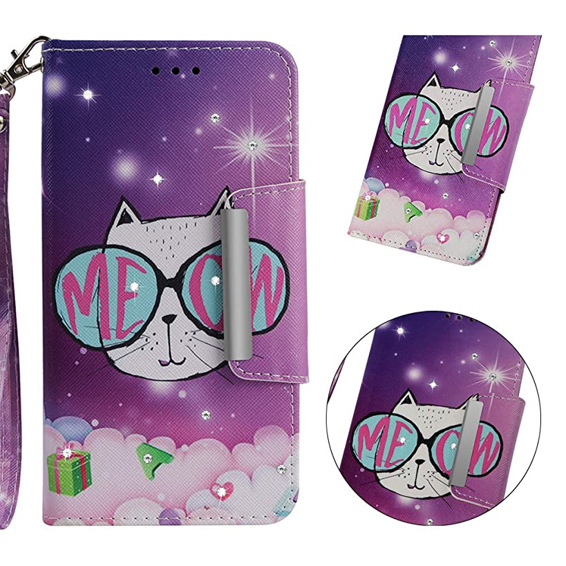 Yobby iPhone XR 6.1 inch Wallet Case,Glitter Diamond Printed Pattern Slim PU Leather Flip Cover with Card Holder Hand Strap Stand Magnetic Shockproof Shell-Purple Cute Cat