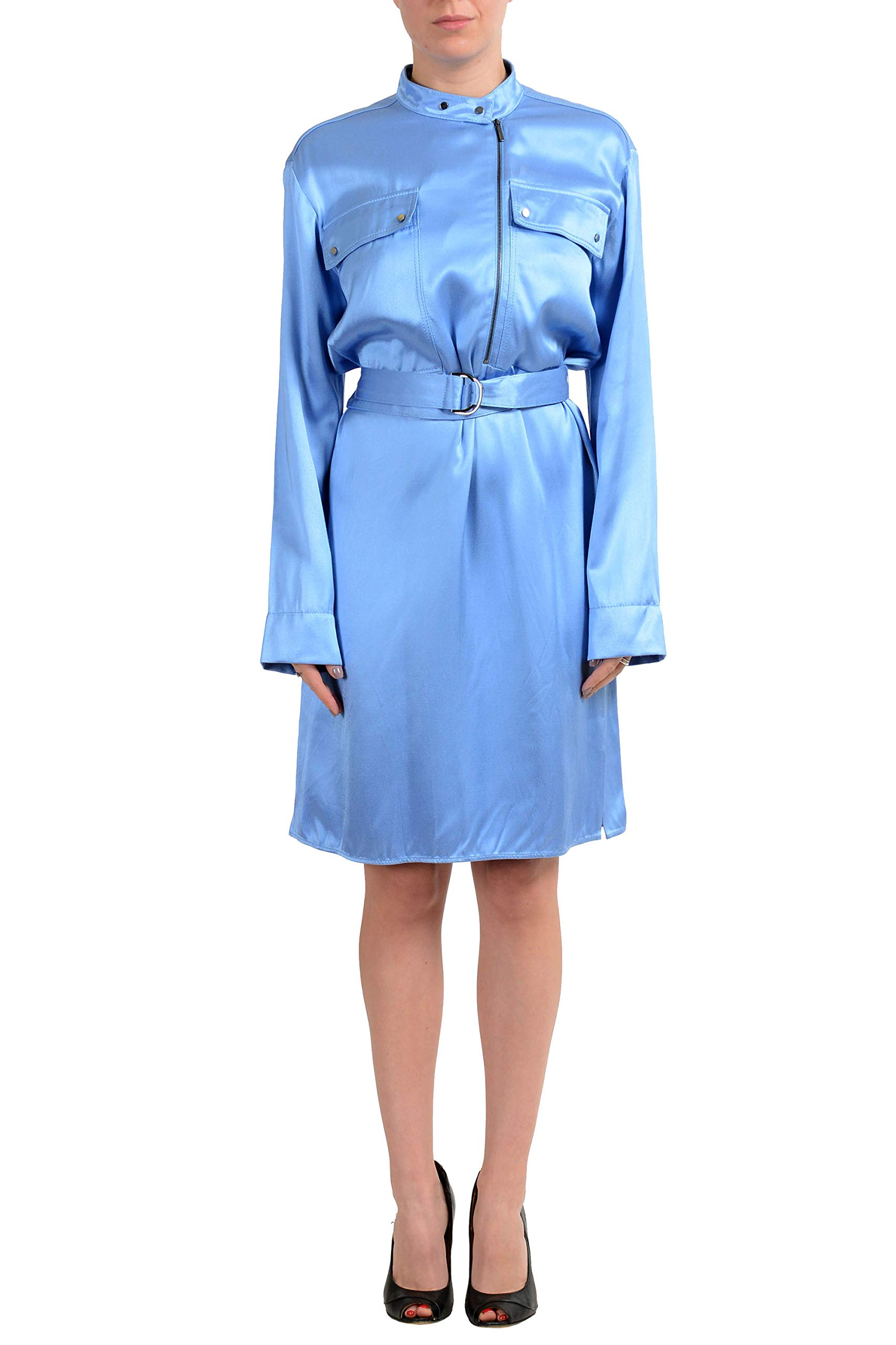 Available at Amazon: Hugo Boss Deikilia Women's Blue Long Sleeve Belted Dress US 4 IT 40