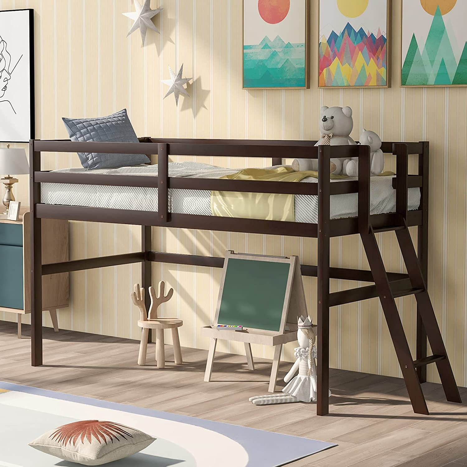 Lazyspace Wooden Low Loft Bed Frame Genuine Free Shipping Guard Ladders and with Rails Spring new work one after another