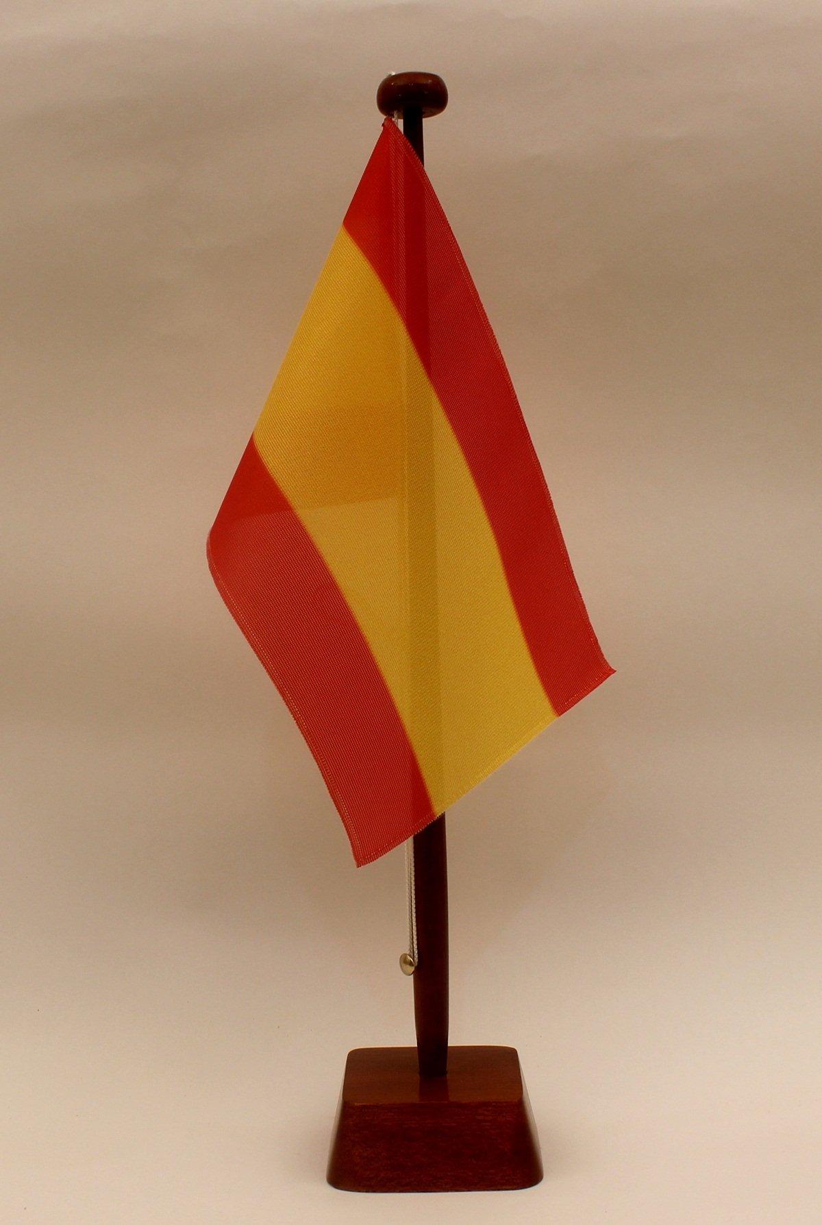 España sin escudo 15 x 25 cm (M) con bandera de 42 cm - bandera de mesa soporte de madera natural, diseño elegante: Amazon.es: Deportes y aire libre
