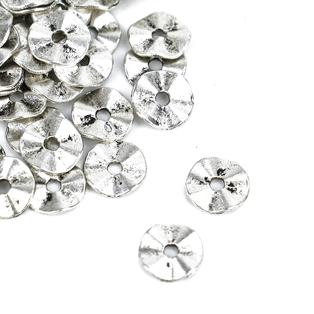 Monrocco 200 Pcs 10x10x1mm Antique Silver Metal Flat Round Spacers Beads Charm Wavy Disc Beads for Bracelets Jewelry Making