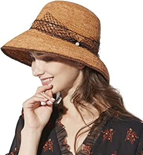 Floppy Straw Sun Hat Fedora for Women Summer Beach Wide Brim Packable Panama Cloche 56-58cm