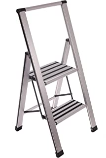 Aluminum Folding 2 Step Ladder, Anti Slip, Sturdy, Lightweight and Slim Design, Heavy Duty, Silver