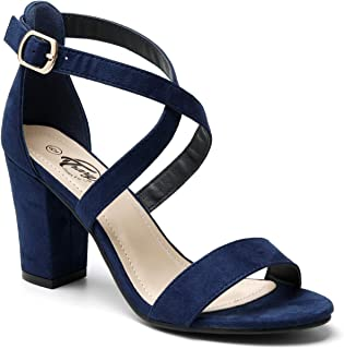 Trary Women's Ankle Strap and Adjustable Buckle Chunky Pump Heel Sandals