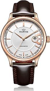 スイス製Marvin自動メンズ時計withホワイトダイヤルゴールドケースとブラウンレザーストラップ