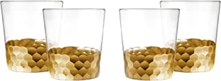 Fitz And Floyd Daphne Gold Old Fashioned Whiskey Glasses, Set of 4