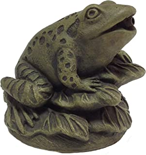 Massarelli's Frog On Leaves Plumbed Spitter - Solid Cast Stone Lifelike Statue, Great Pond and Garden Gift Idea, Durable and Fun Sculpture Art
