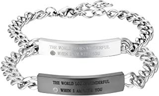 2PCS Couples Bracelets Set Stainless Steel Real Love Heart Puzzle Matching Link Chain Bangle