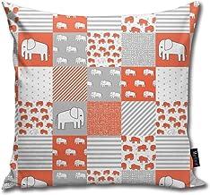 Elephant Baby Cheater Quilt - Cute Baby Nursery Crib Sheet, Baby Blanket - Orange_7856 Cotton Home Decorative Throw Pillow...