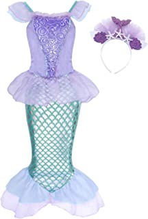Cotrio Mermaid Costume Girls Princess Dresses Toddlers Kids Halloween Party Fancy Dress Cosplay Outfits Clothes Starfish H...