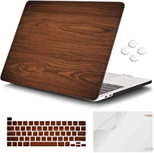 iCasso MacBook Pro 13 inch Case 2020 Release A2338M1/A2251/A2289, Plastic Hard Shell Case & Keyboard Cover & Screen Protector Only Compatible Newest MacBook Pro 13'' with Touch Bar - Brown Woodgrain