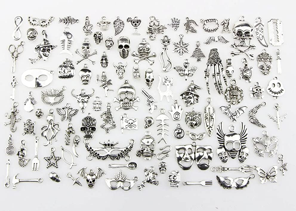 100pc/lot Mixed Charms Sea creatures, Christmas Charms, Halloween Charms Pendants DIY for Jewelry Making and Crafting (Halloween pendant)