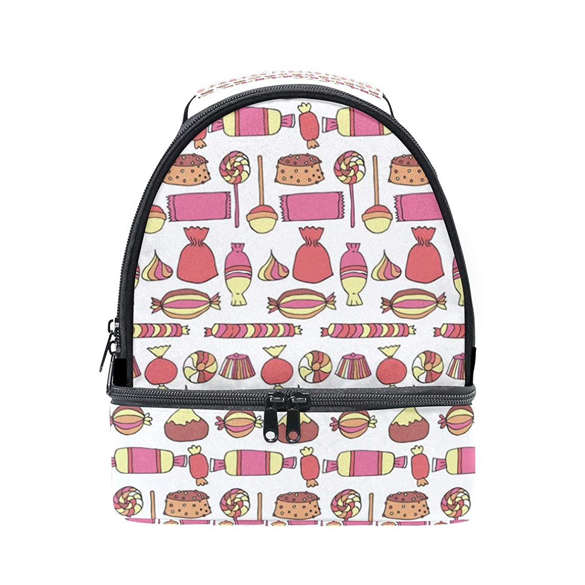 Candy Bars Bags Cup Cake Red Double Lunch Tote Bag for Women Men and Kids, Soft Leak Proof Cooler Lunch Box with Adjustable Shoulder Strap Zipper for Work Picnic Camping