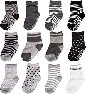 CIEHER 12 Pairs Baby Socks, Anti-Slip Baby Socks with Grip, Non Skid Infant Socks for Baby, 12 Colors