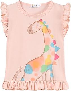 Toddler Baby Girl Ruffle Sleeve Cotton T Shirts Unicorn Dinosaur Tank Tops Tee