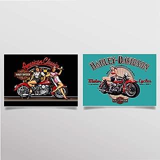 Harley Davidson Vintage Sign Prints Set (2)- 8 x10