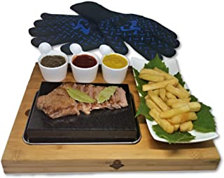 Sizzling Hot Basalt Lava Steak Stone for Hibachi BBQ Grill with Bonus Heatproof Gloves
