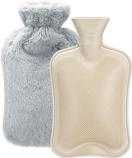 Hombasis 湯たんぽ 容量2L 注水式 ゆたんぽ カバー付き 伝統工芸ゴム製 あったか 寒冷対策 やわらか 湯たんぽ 疲労緩和 肩足腹対応 ゆたぽん (グレー)