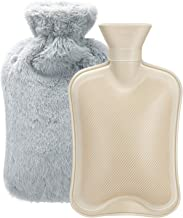Hot Water Bottle with Soft Cover (2 Liter) Classic Rubber Hot Water Bag for Cramps, Neck, Shoulders Pain Relief, Hot Cold ...
