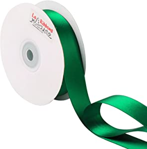 LaRibbons 1 Inch Wide Double Face Satin Ribbon - 25 Yard (587-Forest Green)