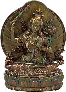 Ebros Bronze Patina Buddha Bodhisattva Manjushri Sitting On Lotus Throne Statue 6.25