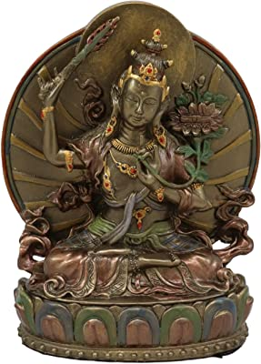 "Ebros Bronze Patina Buddha Bodhisattva Manjushri Sitting On Lotus Throne Statue 6.25"" Tall Eastern Enlightenment Guardian of Wisdom Knowledge & Sacred Doctrine Figurine Feng Shui Altar Sculpture"